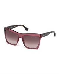 Balenciaga Square Gradient Sunglasses Dark Purple Wine