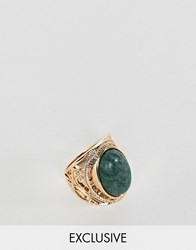 Reclaimed Vintage Inspired Engraved Stone Ring Gold