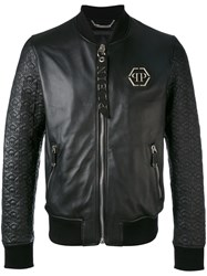 Philipp Plein Quilted Bomber Jacket Men Sheep Skin Shearling Viscose M Black