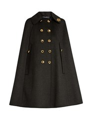 Dolce And Gabbana Embellished Collar Wool Cape Grey