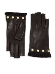 Gucci Studded Leather Fingerless Gloves Black