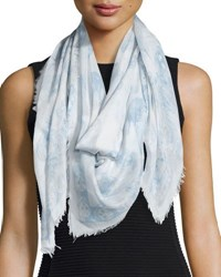 Alexander Mcqueen Skull And Hummingbird Voile Scarf Ivory Blue White Blue