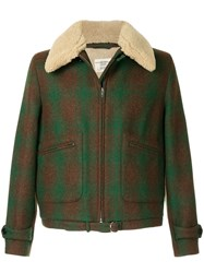Kent And Curwen Furry Collar Coat Sheep Skin Shearling Acrylic Polyester Wool Green