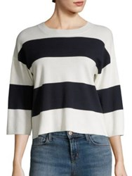 J Brand Estero Striped Merino Wool Sweater Cream Black