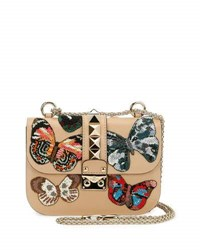 Valentino Lock Small Butterfly Shoulder Bag Beige