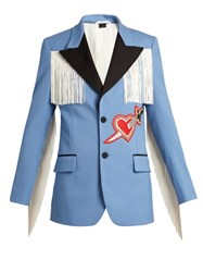 Gucci Pierced Heart Applique Twill Jacket Blue Multi