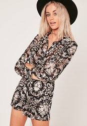 Missguided Satin Sheer Shirt Playsuit Paisley Black