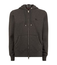 Burberry Check Lined Hoodie Male Dark Grey