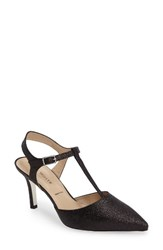 Ron White Women's Cambrie T Strap Pump Onyx Glitter Suede