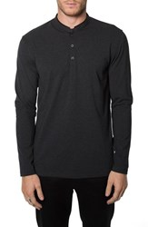 7 Diamonds Men's 'Wembley' Long Sleeve Collarless Jersey Polo Black