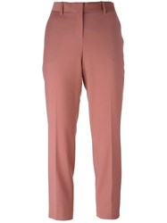 Theory 'Treeca' Straight Leg Cropped Trousers Pink And Purple