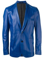 Paul Smith Leather Blazer Blue