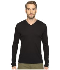 Calvin Klein Long Sleeve Rib V Neck T Shirt Black Men's Clothing