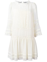 Red Valentino Crochet Lace Detail Dress Women Silk Cotton Polyester 40 White