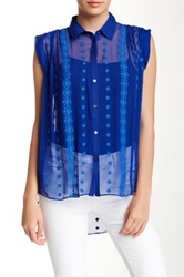 Zoa Silk Tucked Shoulder Blouse Blue