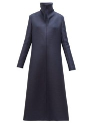 The Row Barbara High Neck A Line Wool Midi Dress Navy