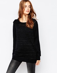Blend She Long Textured Stripe Jumper Black