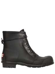 Hunter Rubber Lace Up Ankle Rain Boots Black