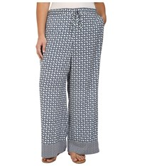 Nydj Plus Size Printed Palazzo Pants In Empire Geo Champion Navy Empire Geo Champion Navy Women's Casual Pants Gray