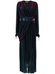 Marco De Vincenzo Belted Evening Gown Blue