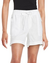Lord And Taylor Linen Drawstring Shorts White