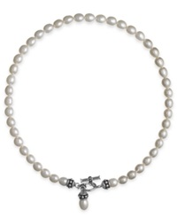 Honora Style Cultured Freshwater Pearl Pallini Toggle Necklace 7 1 2Mm White