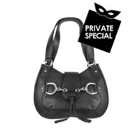 Buti Black Horsebit Detail Italian Calf Leather Shoulder Bag