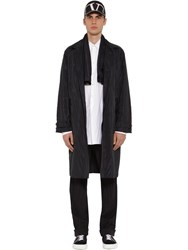 Valentino Pleated Tech Silk And Canvas Coat W Scarf Navy