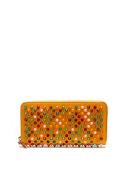 Christian Louboutin Panettone Spike Embellished Leather Wallet Yellow Multi