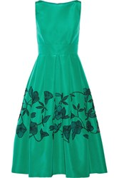 Lela Rose Embellished Laser Cut Silk Faille Dress Jade