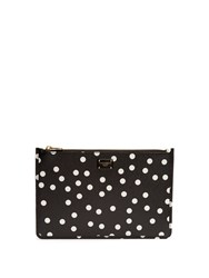 Dolce And Gabbana Polka Dot Print Leather Pouch Black White