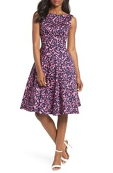 Maggy London Print Fit And Flare Dress Navy Pink