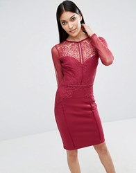 Lipsy Michelle Keegan Loves Long Sleeve Lace Midi Dress Cranberry Red