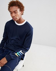 Nike Sb Long Sleeve Top With Arm Print In Navy 886100 451