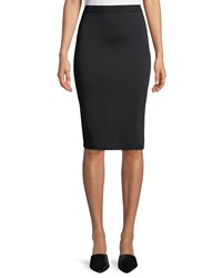 Giorgio Armani Viscose Knit Knee Length Pencil Skirt Black