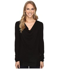 Stetson Rayon Jersey Long Sleeve Blouse Black Women's Blouse