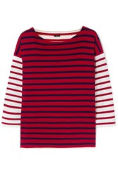 J.Crew Striped Cotton Top Red