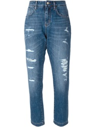 Dolce And Gabbana Cropped Ripped Jeans Blue