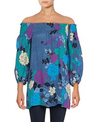 Plenty By Tracy Reese Floral Off The Shoulder Top Blue