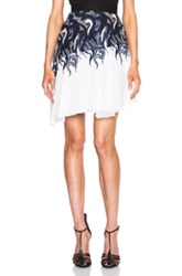 Rodarte Lace And Chiffon Ruffle Skirt In White Blue