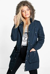 Boohoo Hooded Parka With Faux Fur Trim Navy
