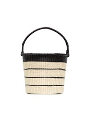 Sensi Studio Striped Straw Bucket Bag Nude And Neutrals