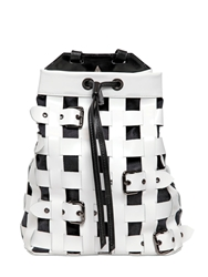 Salar Jules Woven Leather Backpack W Buckles White Black