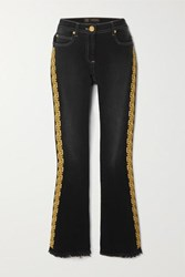 Versace Frayed Embroidered Mid Rise Flared Jeans Black