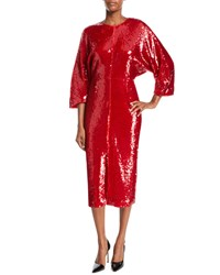 Sally Lapointe Jewel Neck Dolman Sleeve Shift Sequin Cocktail Dress Red
