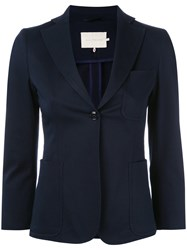 L'autre Chose Single Breasted Blazer Women Cotton Spandex Elastane 40 Blue