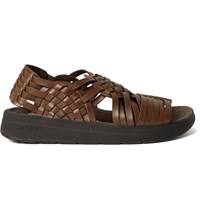 Malibu Canyon Woven Faux Leather Sandals Brown