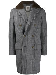 Eleventy Houndstooth Double Breasted Coat Grey