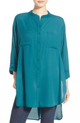 Bp High Low Tunic Teal Cyrus