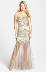 Terani Couture Embellished Sheer Hem Trumpet Gown Taupe
